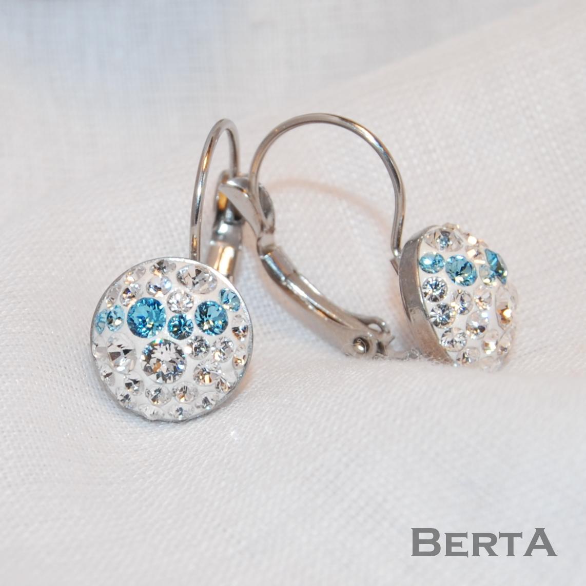 Fehér&Kék francia kapcsos fülbevaló Swarovski kristályokkal