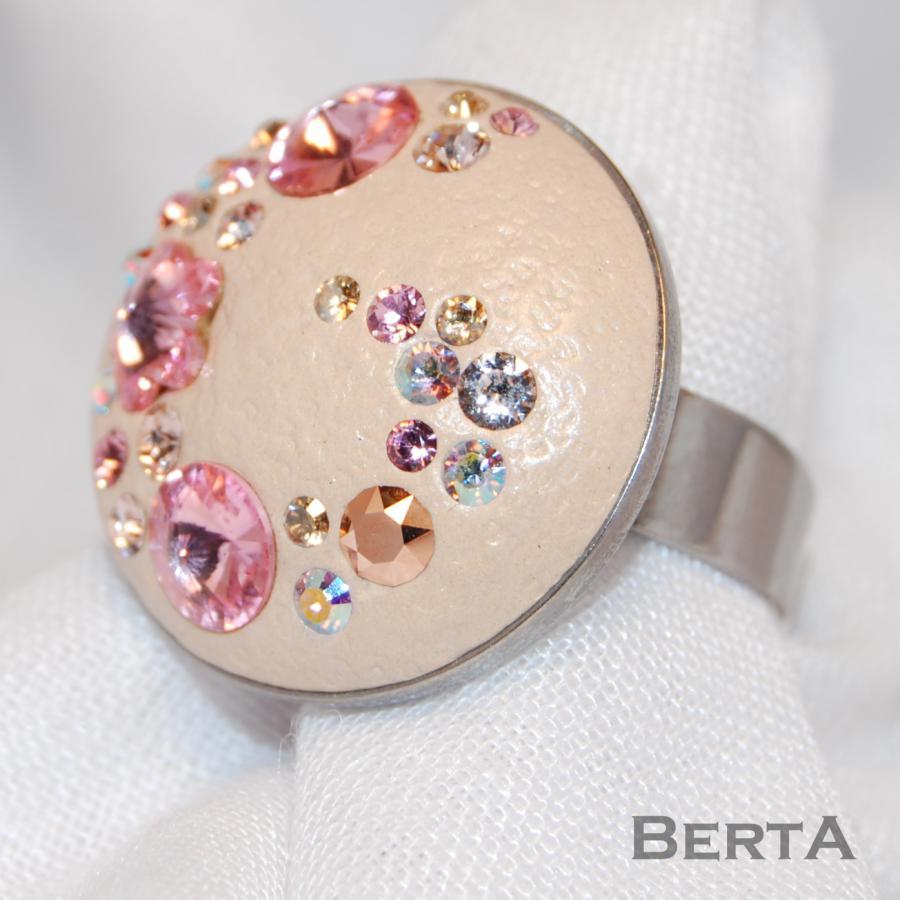 Bézs&Rózsaszín gyűrű Swarovski kristályokkal