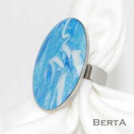 Kékség Nemesacél műgyantás Gyűrű