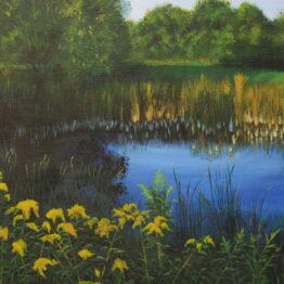 Tóparti csend akril festmény