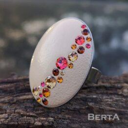 Bézs nemesacél gyűrű Swarovski kristályokkal