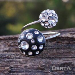 Kisfekete nemesacél gyűrű Swarovski kristályokkal