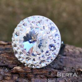 Crystal Nemesacél Gyűrű Swarovski