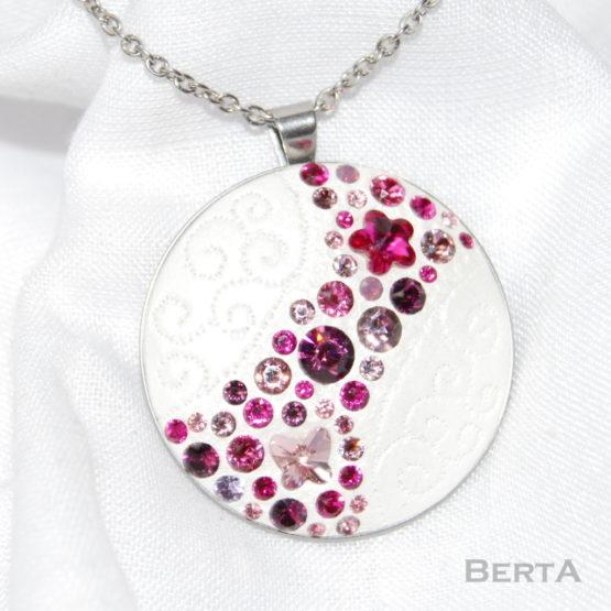 Fuchsia Antiallergén Ékszer Szett Swarovski kristályokkal
