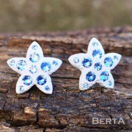Csillag&Aqua nemesacél bedugós fülbevaló Swarovski