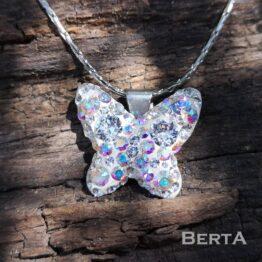 Kristály pillangó medál Swarovski kristályokkal