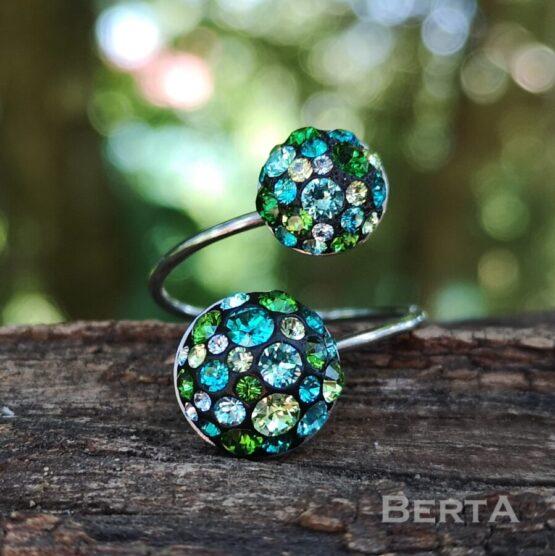 ZöldésKék nemesacél gyűrű Swarovski kristályokkal