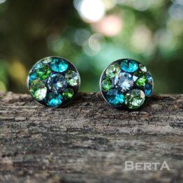 ZöldésKék bedugós fülbevaló Swarovski kristályokkal II.